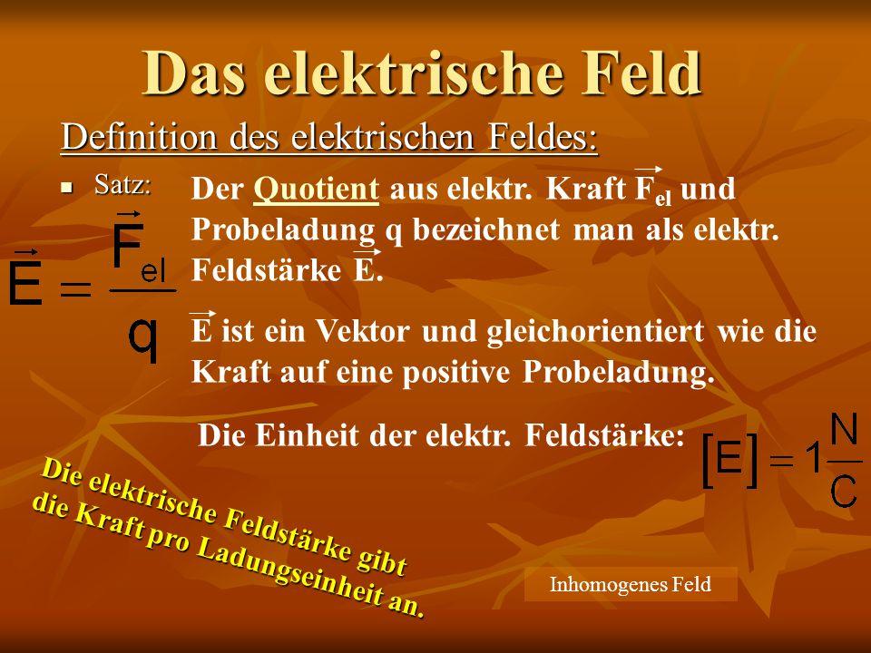 Definition des elektrischen Feldes: Satz: