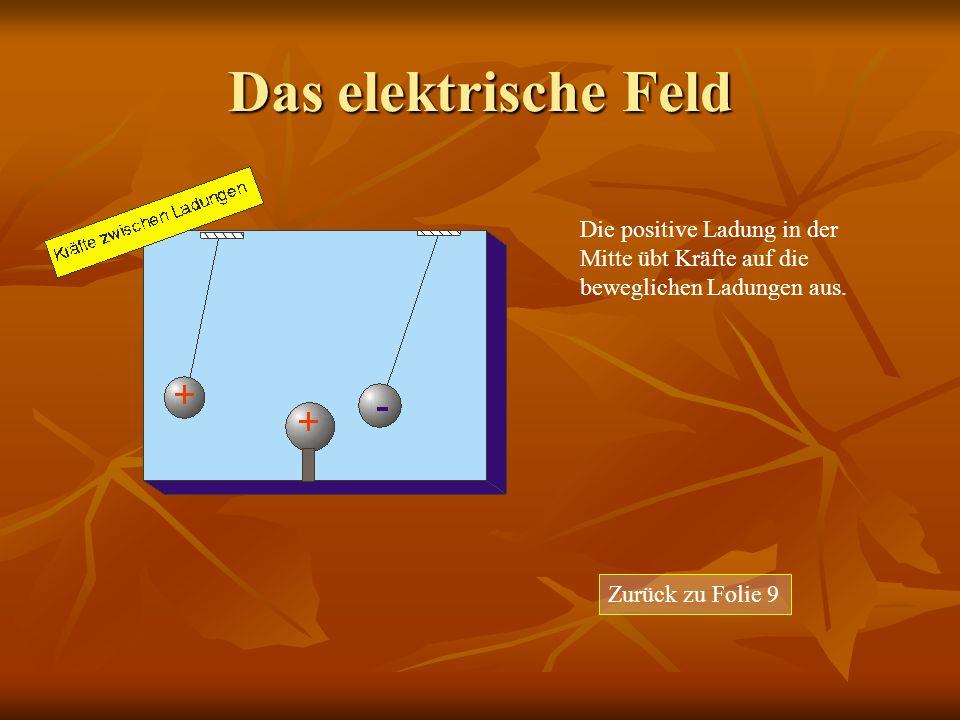 Das elektrische Feld Die positive Ladung in der Mitte übt Kräfte auf die beweglichen Ladungen aus.