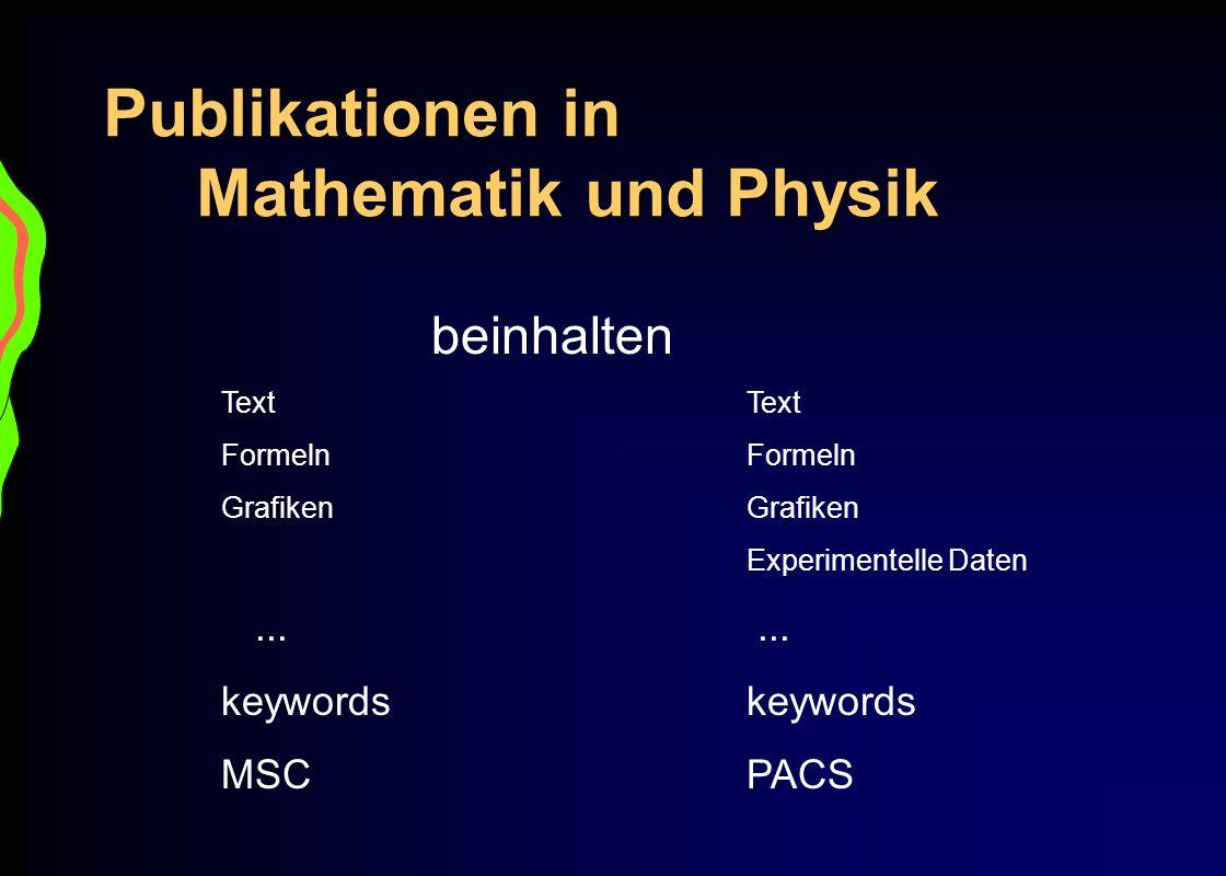 Publikationen in Mathematik und Physik