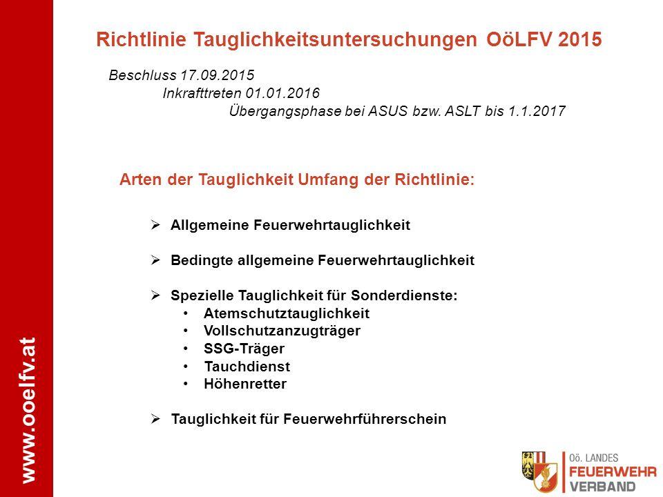Richtlinie Tauglichkeitsuntersuchungen OöLFV 2015