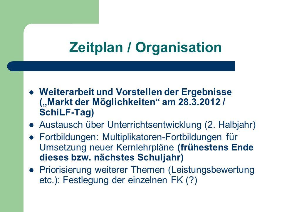 Zeitplan / Organisation