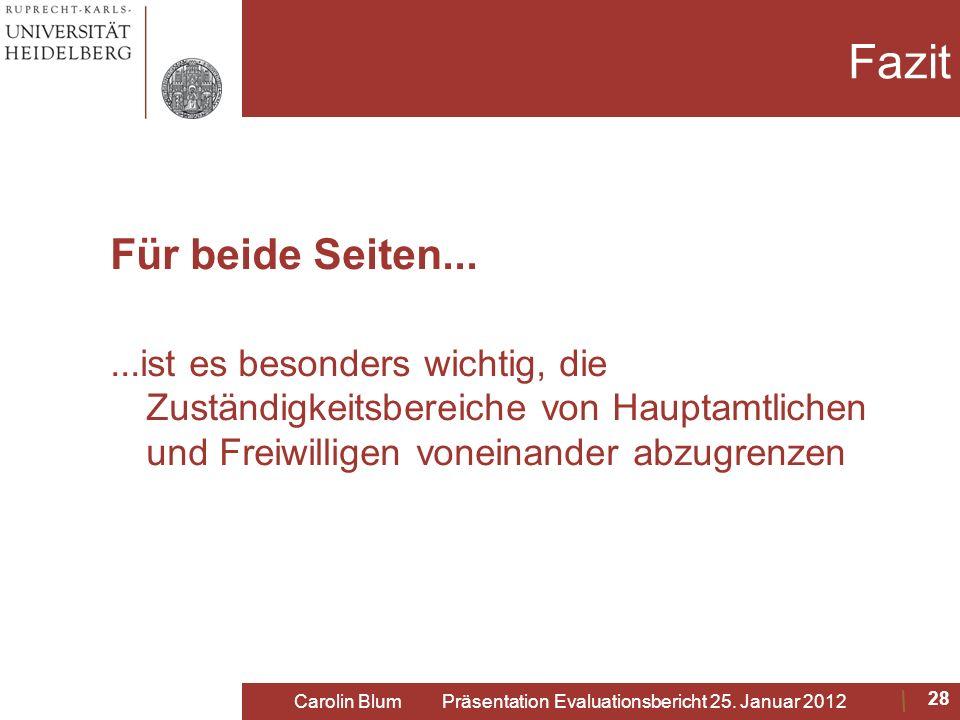 Carolin Blum Präsentation Evaluationsbericht 25. Januar 2012
