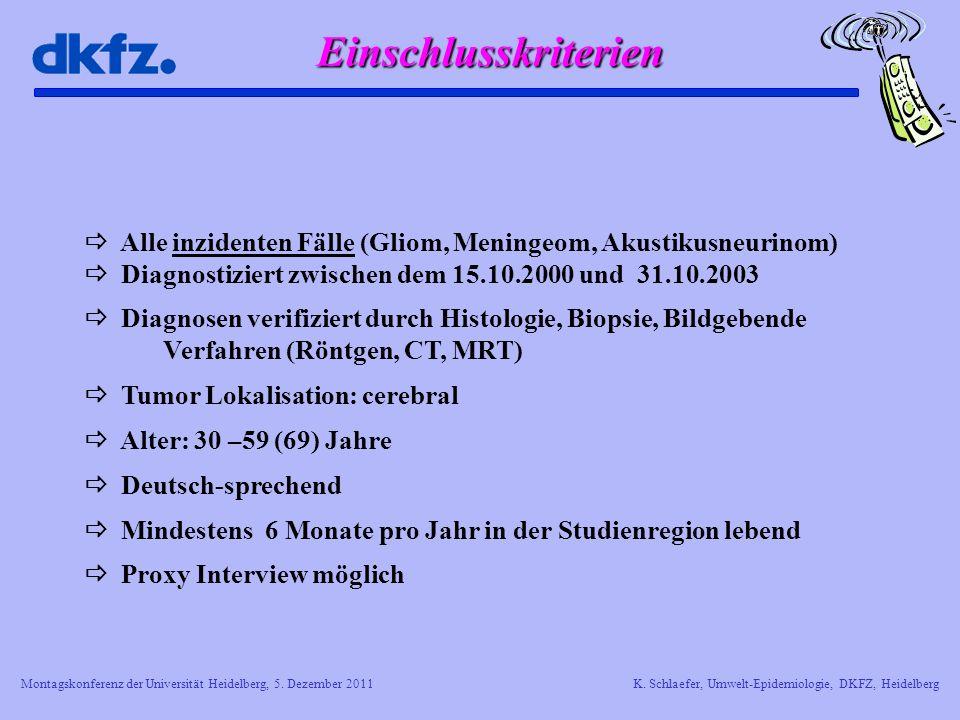 Einschlusskriterien  Alle inzidenten Fälle (Gliom, Meningeom, Akustikusneurinom)  Diagnostiziert zwischen dem 15.10.2000 und 31.10.2003.