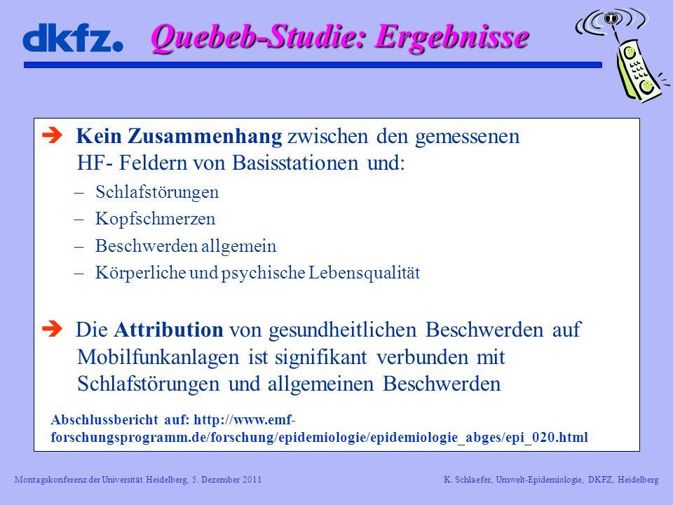 Quebeb-Studie: Ergebnisse