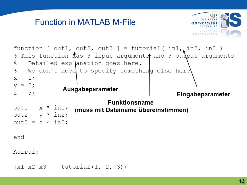 Function in MATLAB M-File