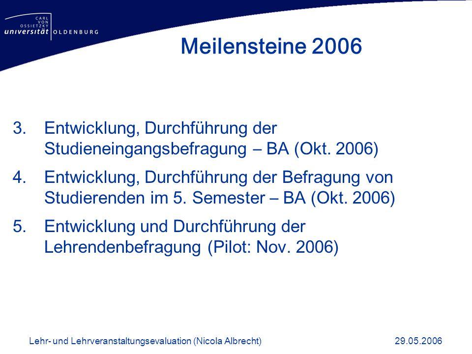 Meilensteine 2006 Entwicklung, Durchführung der Studieneingangsbefragung – BA (Okt. 2006)