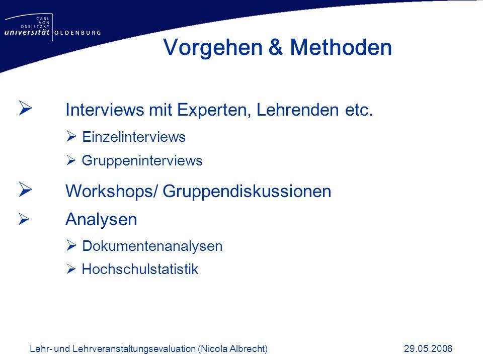 Vorgehen & Methoden Interviews mit Experten, Lehrenden etc.