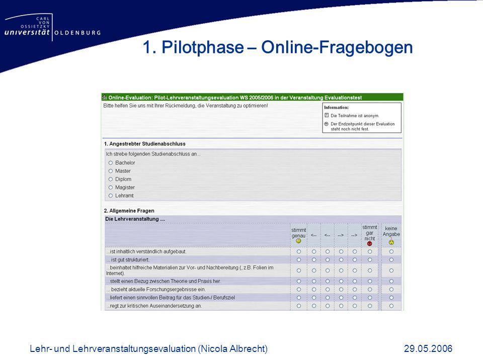 1. Pilotphase – Online-Fragebogen