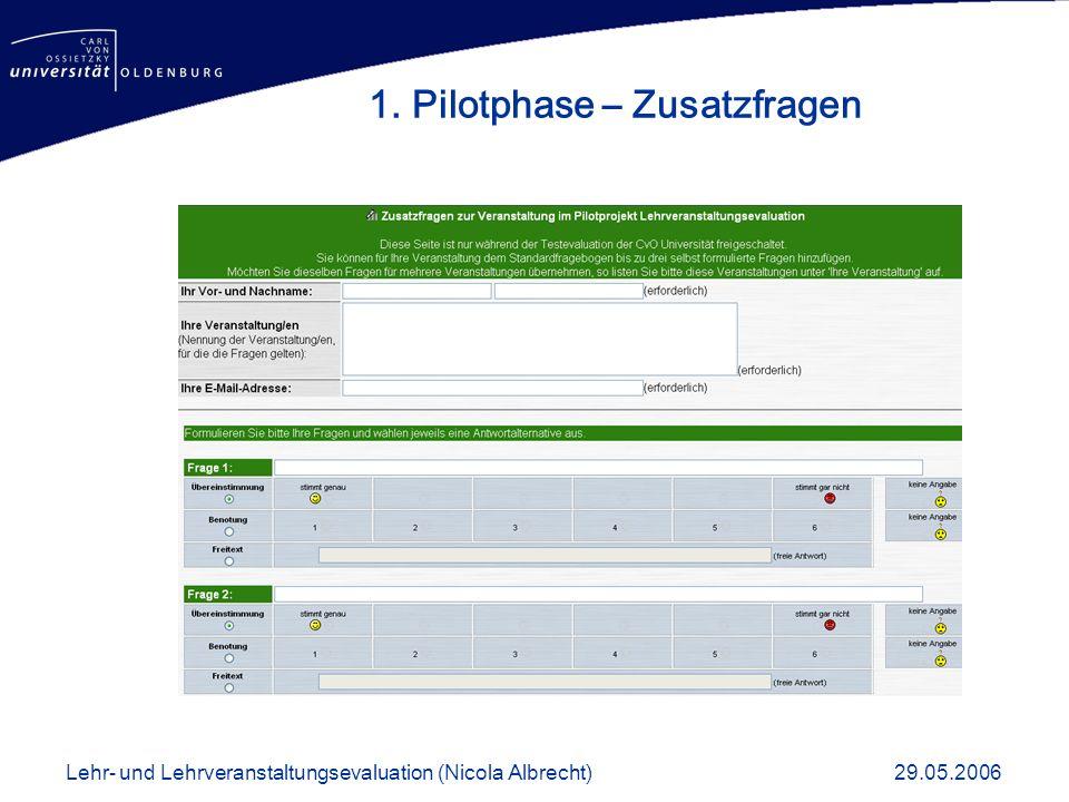 1. Pilotphase – Zusatzfragen