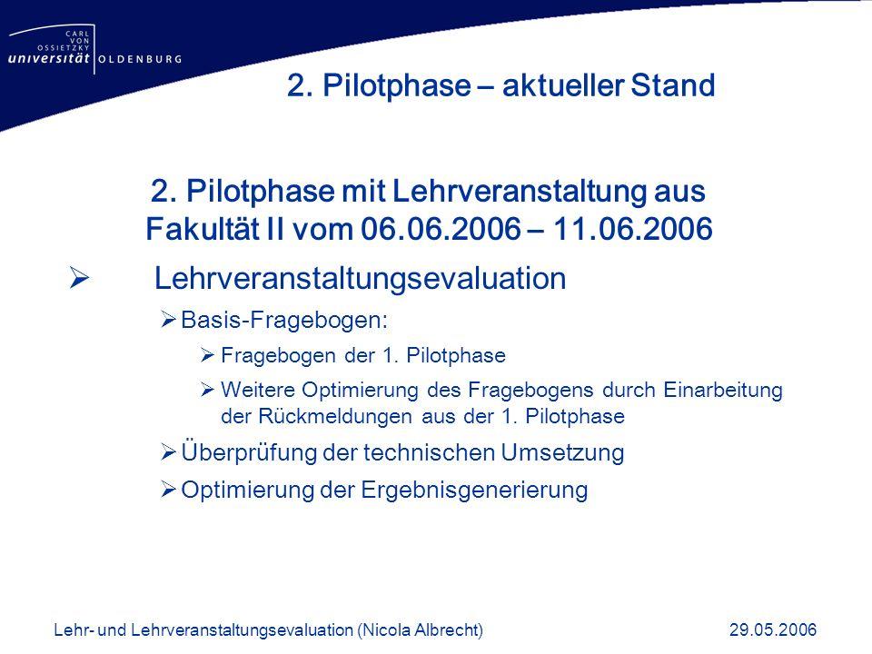 2. Pilotphase – aktueller Stand