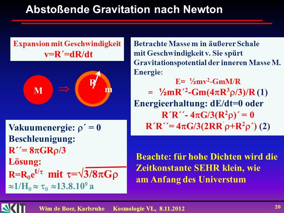 Expansion mit Geschwindigkeit R´R´´= 4G/3(2RR´+R2´) (2)