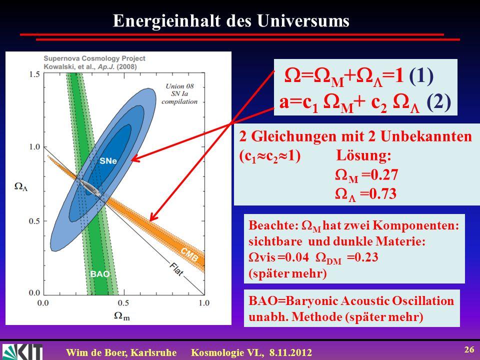 =M+=1 (1) a=c1 M+ c2  (2) Energieinhalt des Universums