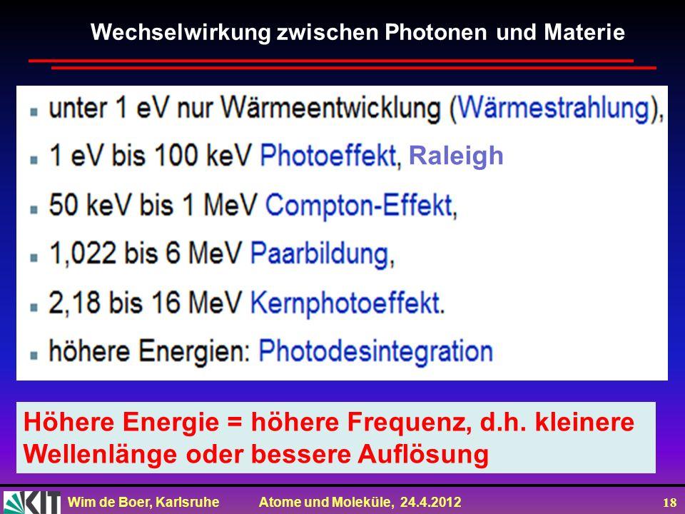 Höhere Energie = höhere Frequenz, d.h. kleinere