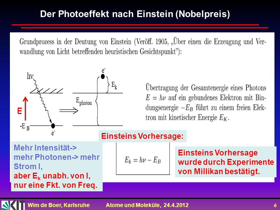 Der Photoeffekt nach Einstein (Nobelpreis)
