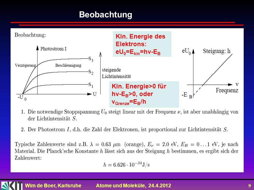 Beobachtung Kin. Energie des Elektrons: eU0=Ekin=hv-EB