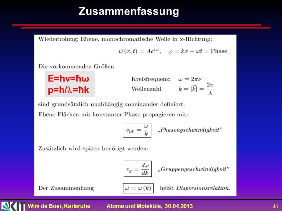 Zusammenfassung E=hv=ħω p=h/=ħk