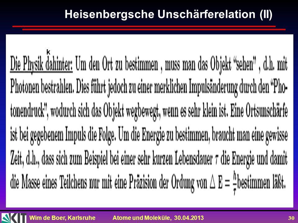 Heisenbergsche Unschärferelation (II)