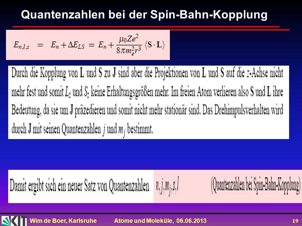 Quantenzahlen bei der Spin-Bahn-Kopplung