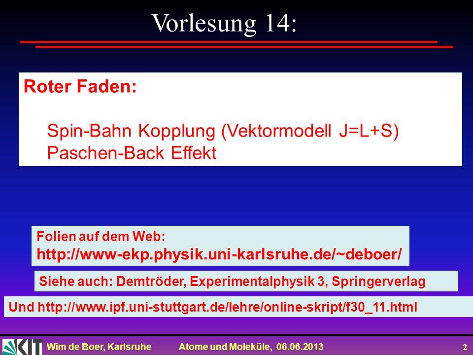 Vorlesung 14: Roter Faden: Spin-Bahn Kopplung (Vektormodell J=L+S)