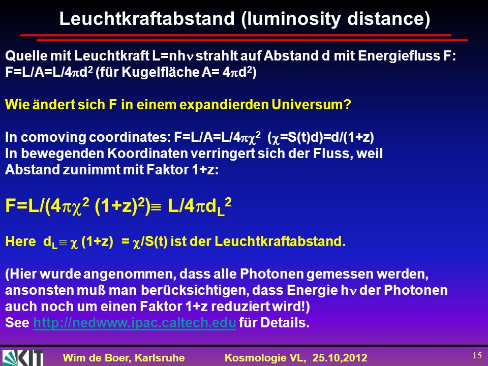 Leuchtkraftabstand (luminosity distance)