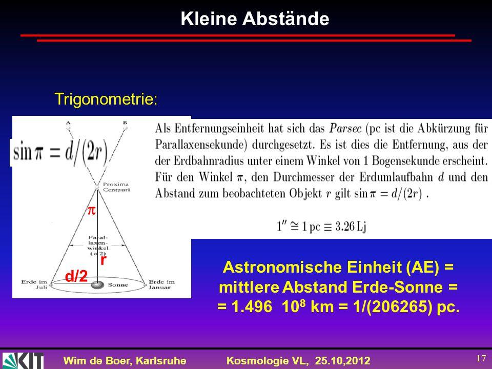 Astronomische Einheit (AE) = mittlere Abstand Erde-Sonne =