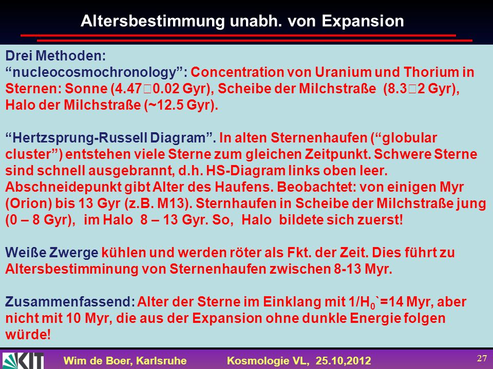 Altersbestimmung unabh. von Expansion