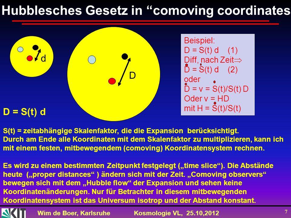 Hubblesches Gesetz in comoving coordinates