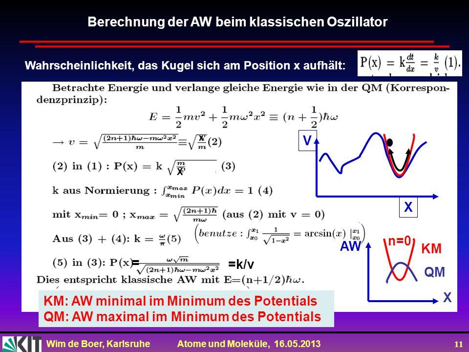Berechnung der AW beim klassischen Oszillator