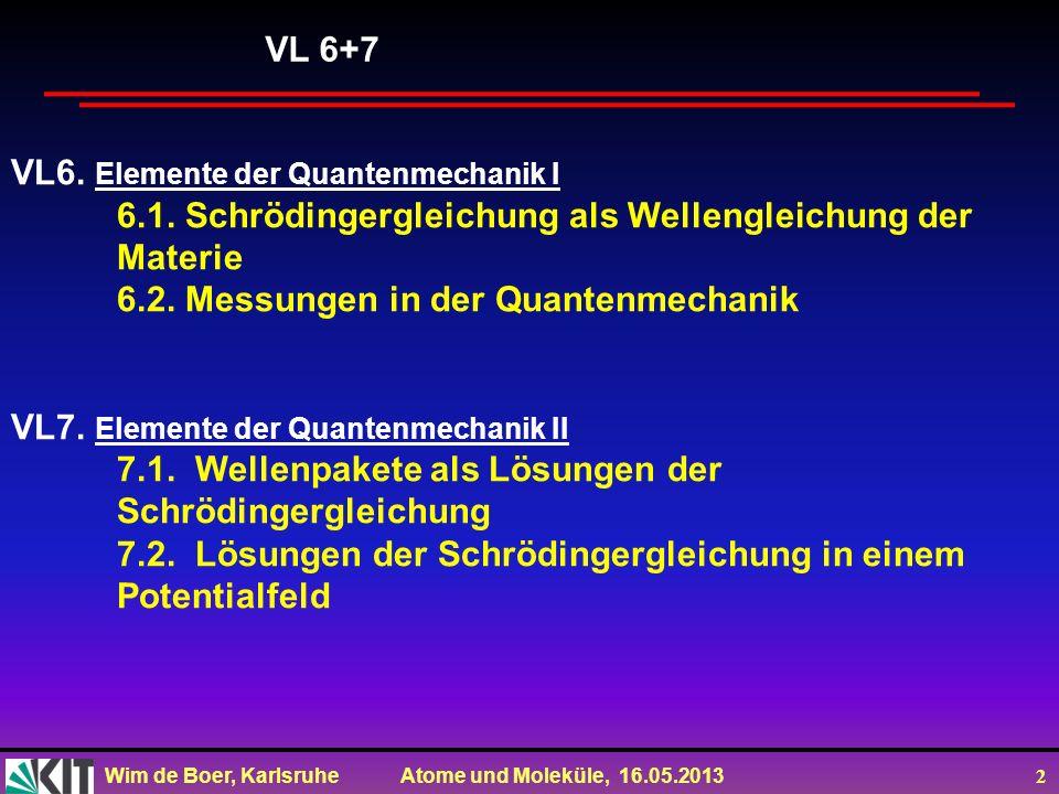 VL 6+7 VL6. Elemente der Quantenmechanik I. 6.1. Schrödingergleichung als Wellengleichung der Materie.