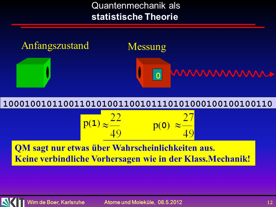 Anfangszustand Messung p(1) p(0)