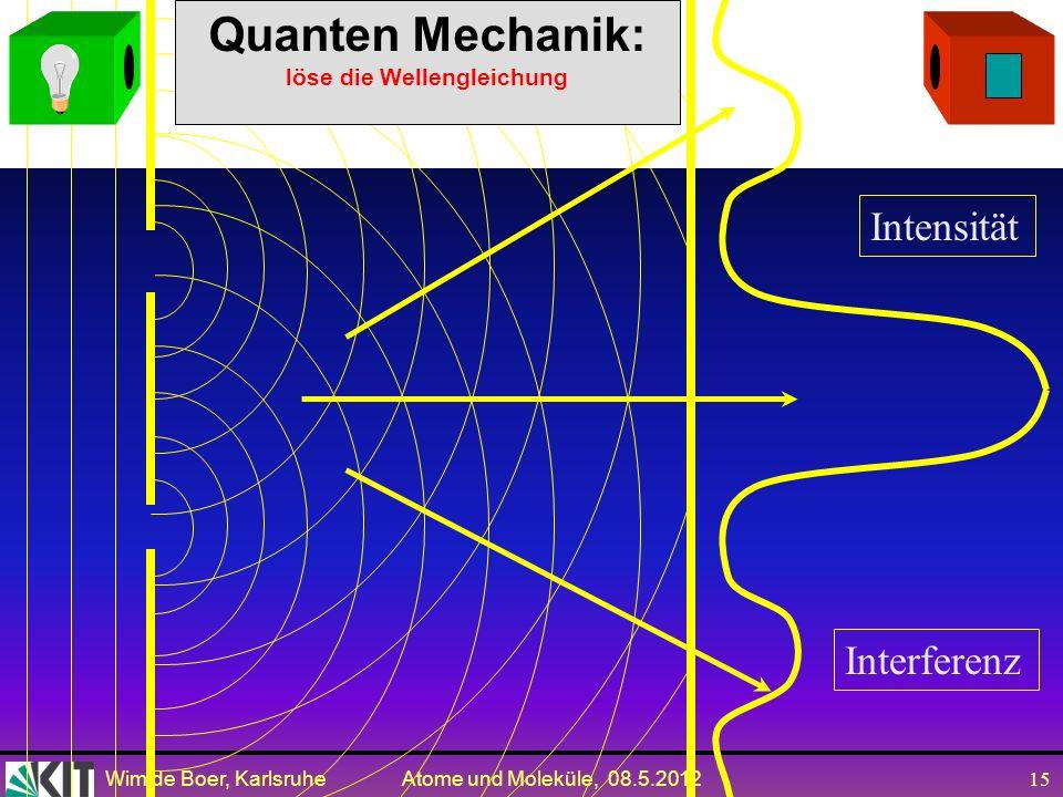 Quanten Mechanik: löse die Wellengleichung