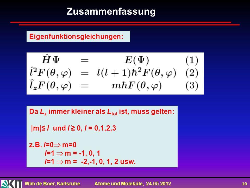 Zusammenfassung Eigenfunktionsgleichungen: