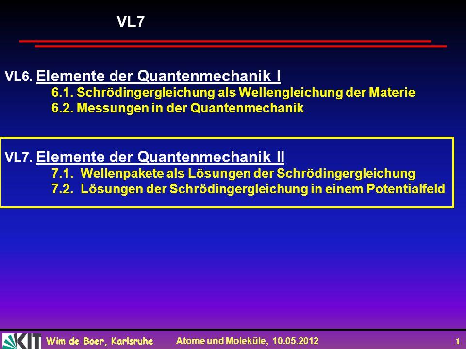 VL7 VL6. Elemente der Quantenmechanik I