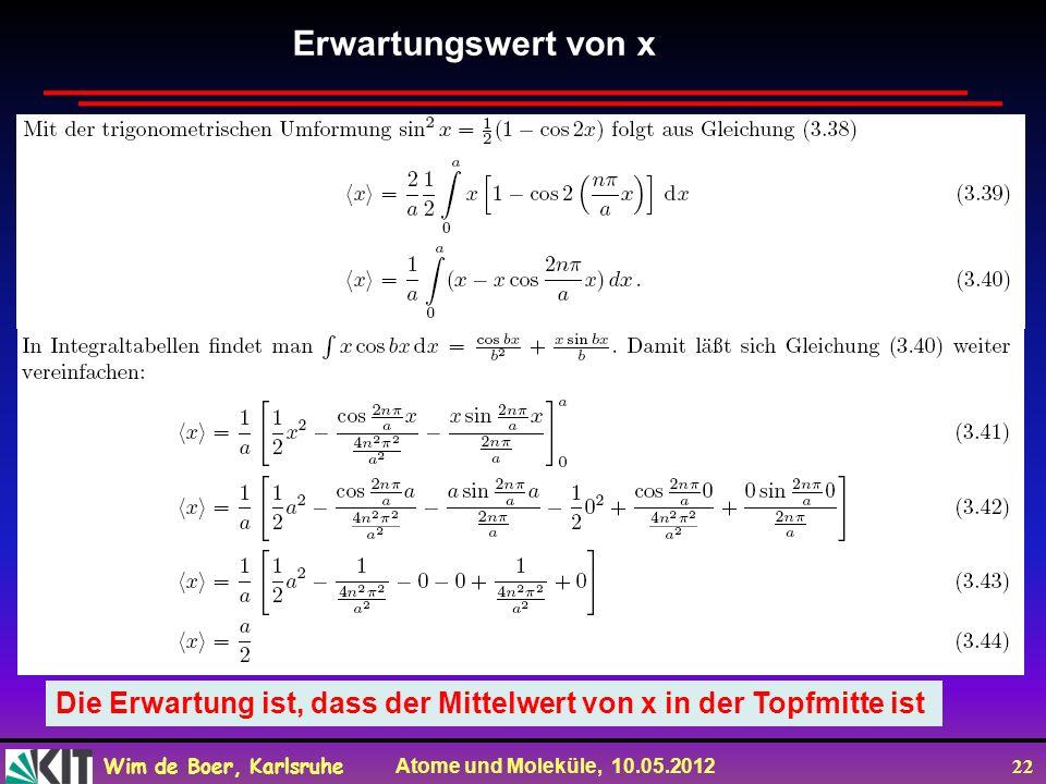 Erwartungswert von x Die Erwartung ist, dass der Mittelwert von x in der Topfmitte ist