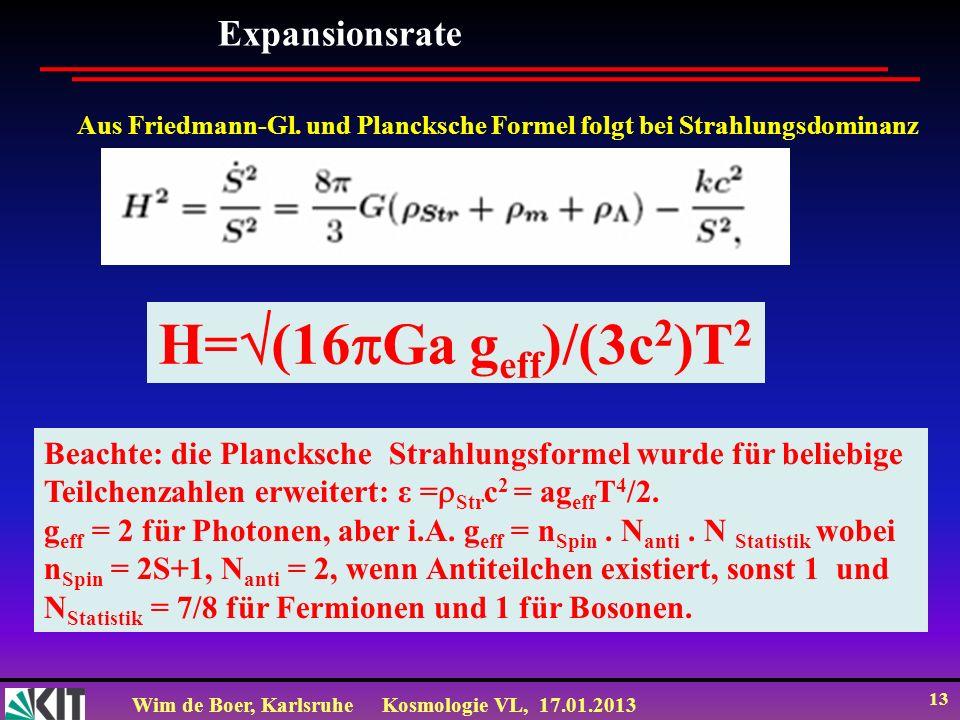 H=(16Ga geff)/(3c2)T2 Expansionsrate
