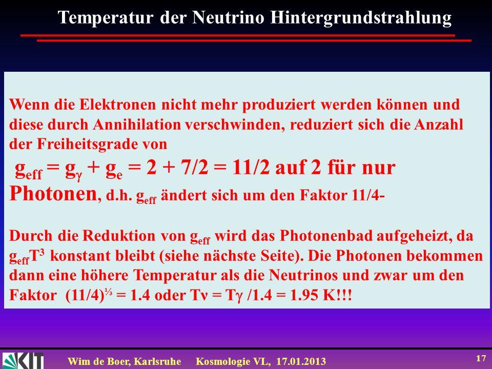Temperatur der Neutrino Hintergrundstrahlung