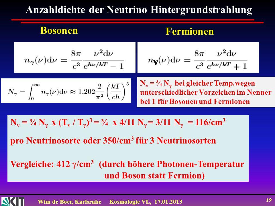 Anzahldichte der Neutrino Hintergrundstrahlung