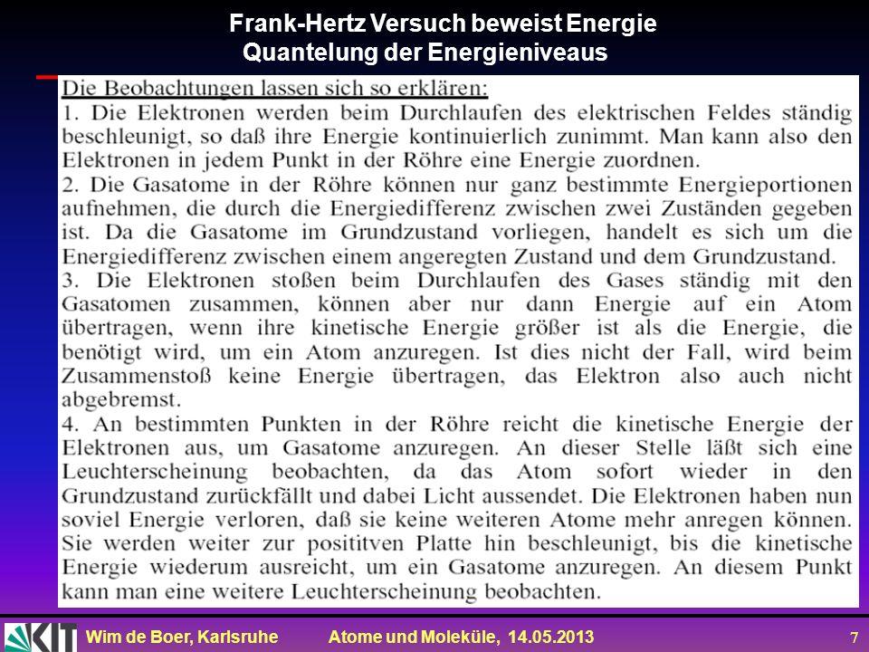 Frank-Hertz Versuch beweist Energie