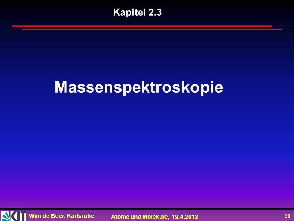 Kapitel 2.3 Massenspektroskopie