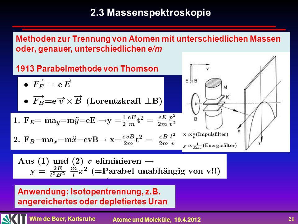 2.3 Massenspektroskopie Methoden zur Trennung von Atomen mit unterschiedlichen Massen. oder, genauer, unterschiedlichen e/m.