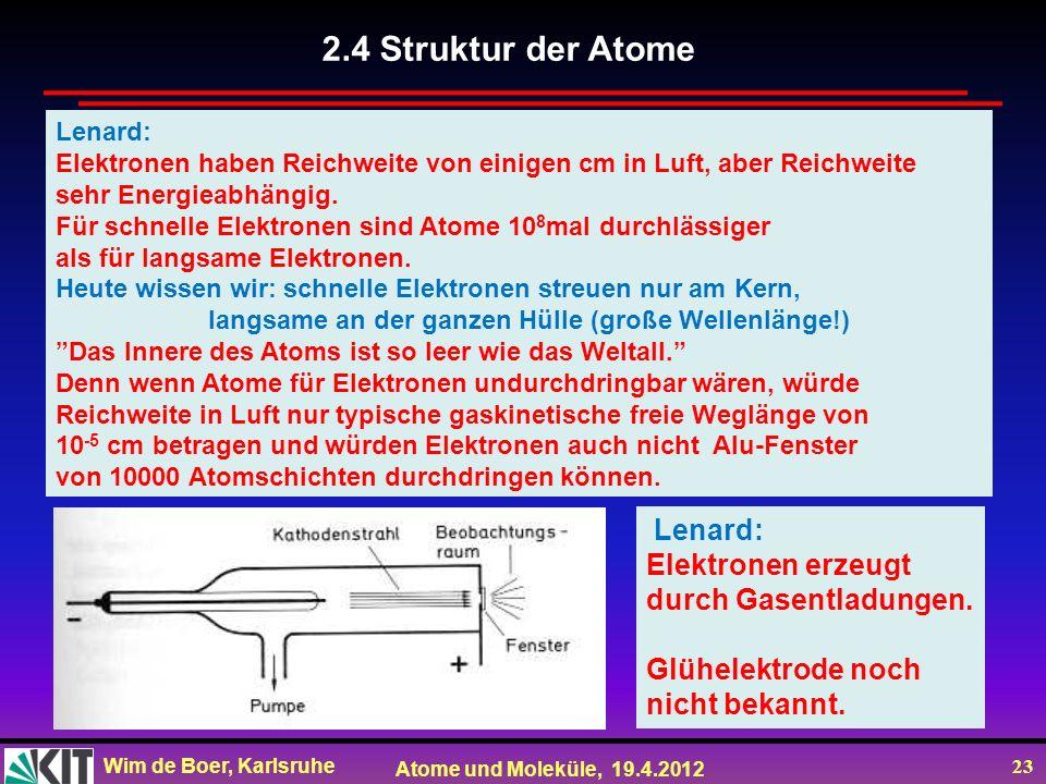 2.4 Struktur der Atome Lenard: Elektronen erzeugt