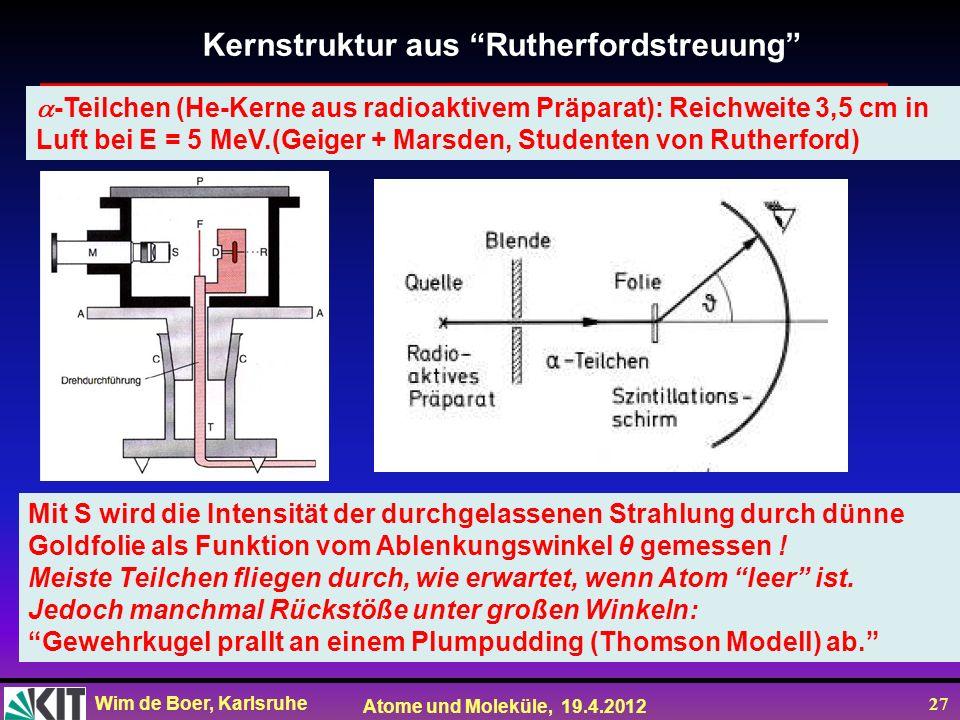 Kernstruktur aus Rutherfordstreuung