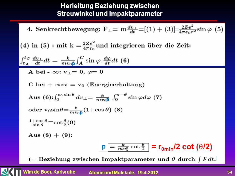 = = r0min/2 cot (/2) Herleitung Beziehung zwischen