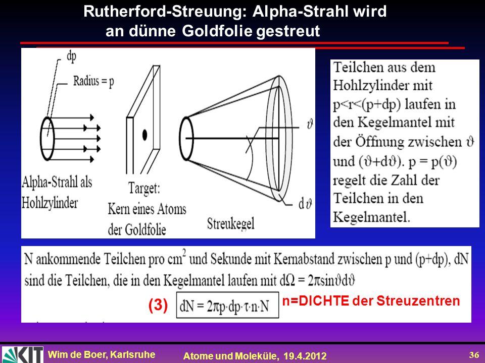Rutherford-Streuung: Alpha-Strahl wird an dünne Goldfolie gestreut