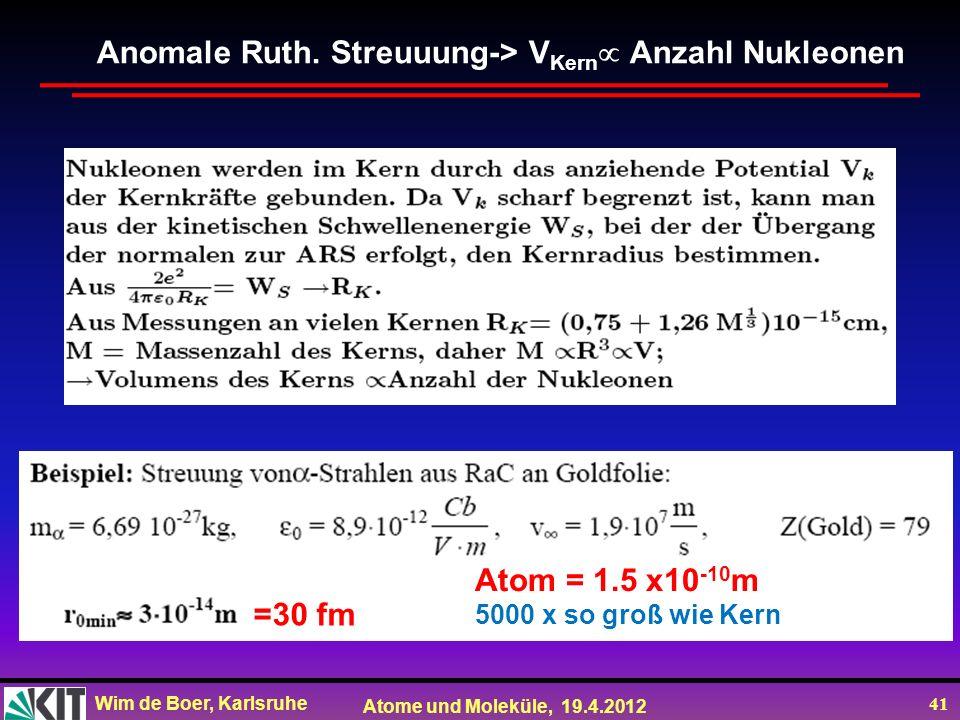 Anomale Ruth. Streuuung-> VKern Anzahl Nukleonen