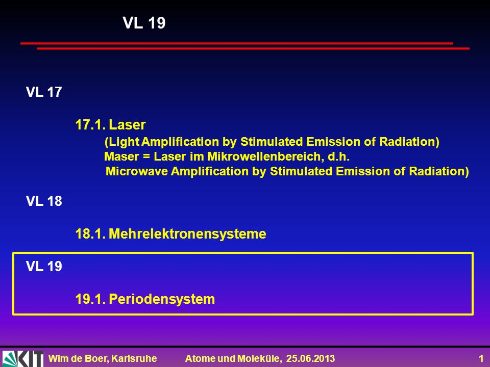 VL 19 VL 17. 17.1. Laser. (Light Amplification by Stimulated Emission of Radiation) Maser = Laser im Mikrowellenbereich, d.h.