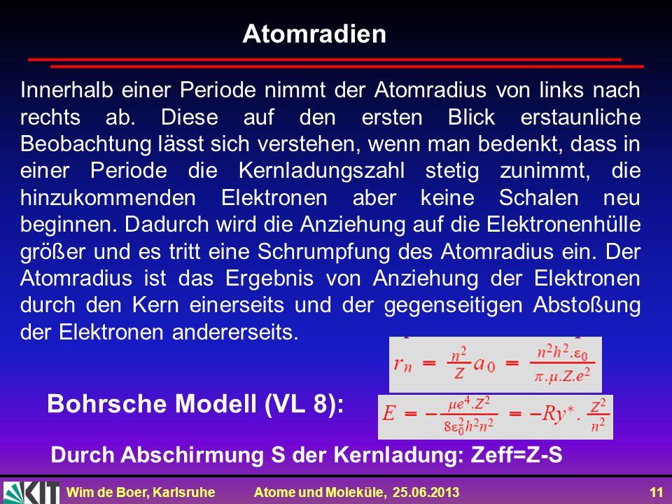 Atomradien Bohrsche Modell (VL 8):