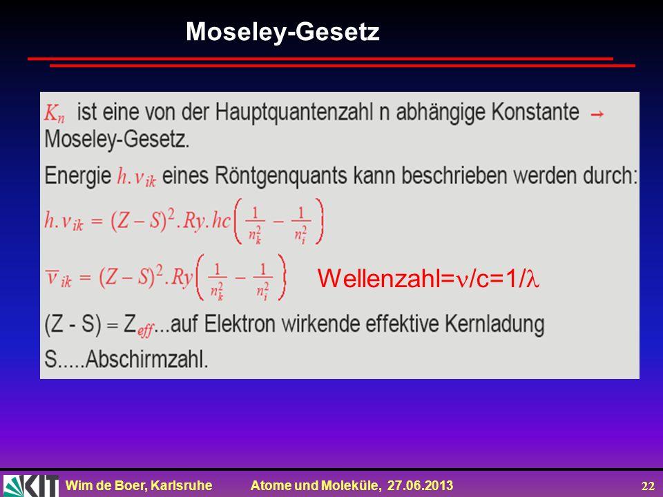 Moseley-Gesetz Wellenzahl=/c=1/
