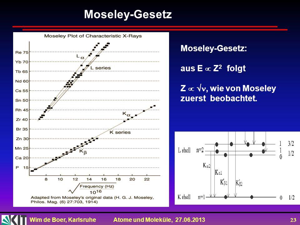 Moseley-Gesetz Moseley-Gesetz: aus E  Z2 folgt