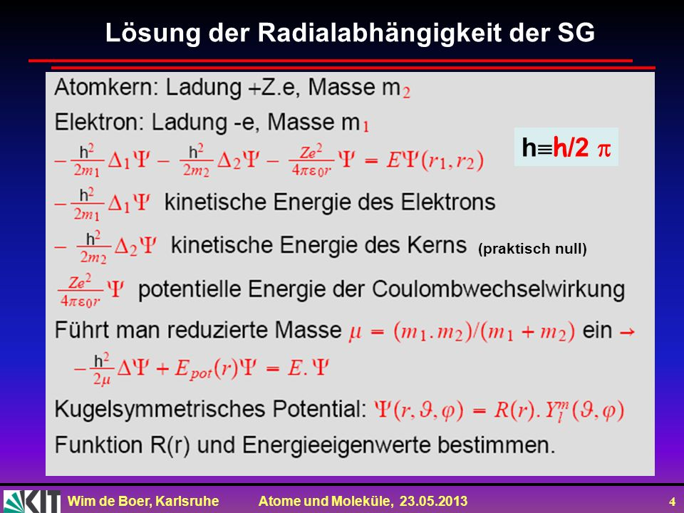 Lösung der Radialabhängigkeit der SG